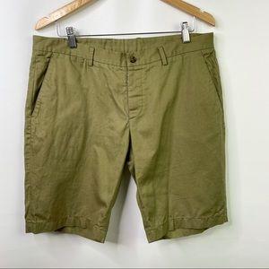 MAISON MARGIELA Slim Fit Twill Shorts Tan Linen